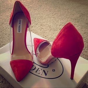 Steve Madden Red And Clear Pumps